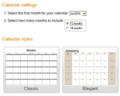 Calendar settings and styles