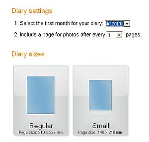 Diary settings and sizes